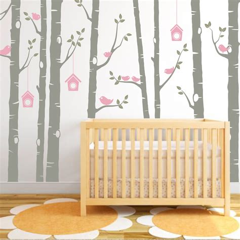 Wall Decals For Baby Nursery Birch Tree Decal Birds Wall Sticker Set Baby Nursery Wall Decals Tech