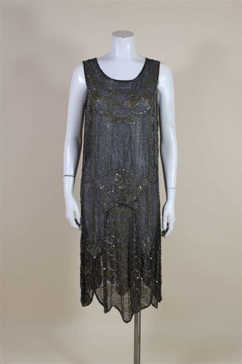 1920 beaded dresses for sale 1920 s cotton beaded flapper dress with scalloped hem for