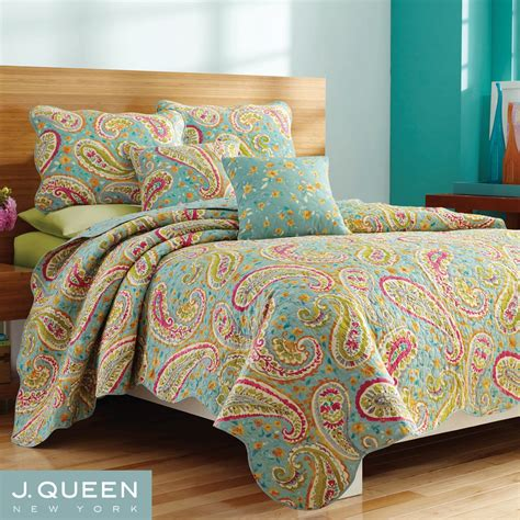 aqua coverlet persnickety paisley aqua coverlet set by j queen new york