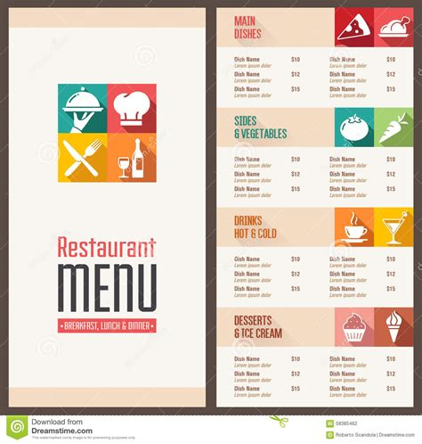 modern menu template modern menu template stock vector image 58385462