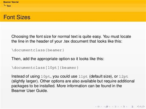 latex tutorial font size beamer tutorial text font sizes