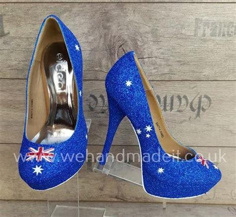Handmade Shoes Australia - australia flag custom glitter shoes heel or wedge