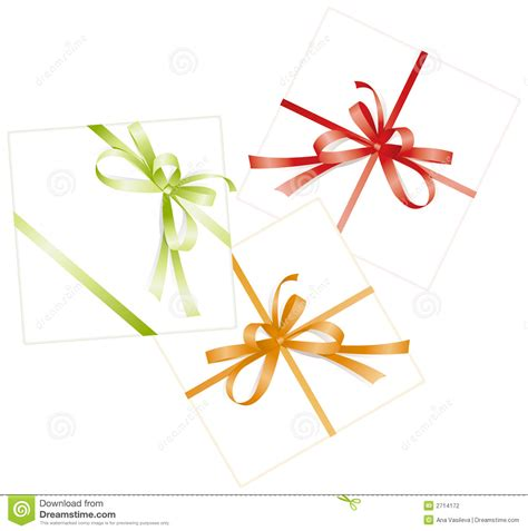 three presents ribbons bows stock photography image