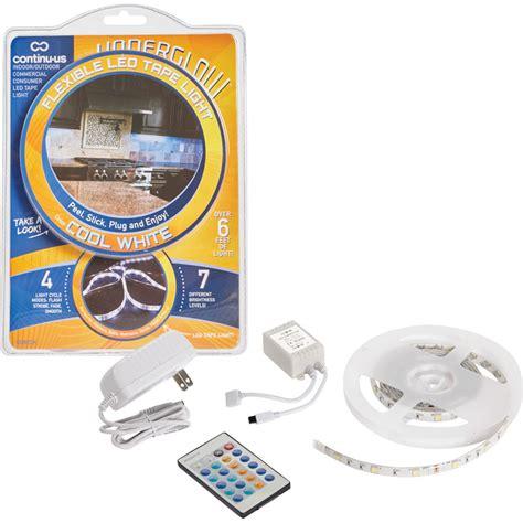 led tape under cabinet lighting kit underglow plug in cool white led tape light starter kit