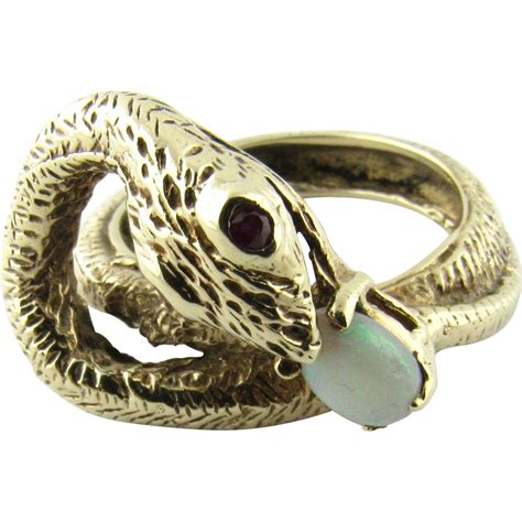 vintage 14k yellow gold snake ring with ruby and opal