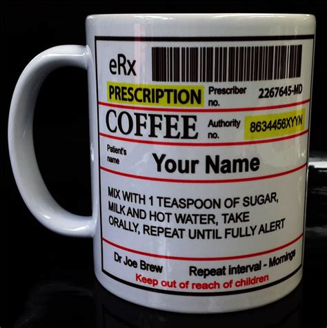 gift for coffee personalised coffee prescription mug gift for office