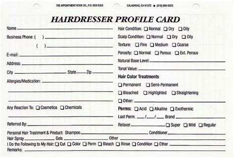 hairdressing client record card template hairdresser client profile cards pack of 100 by