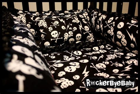 custom punk baby 4 piece crib bedding set fabric skull and