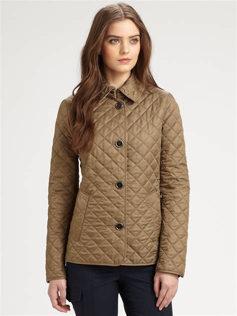 burberry brit copford quilted jacket in khaki olive lyst