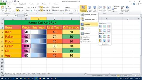 excel cell color formula use of data bars and color scales in excel