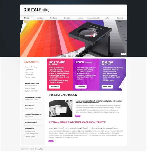 print shop website template web design templates