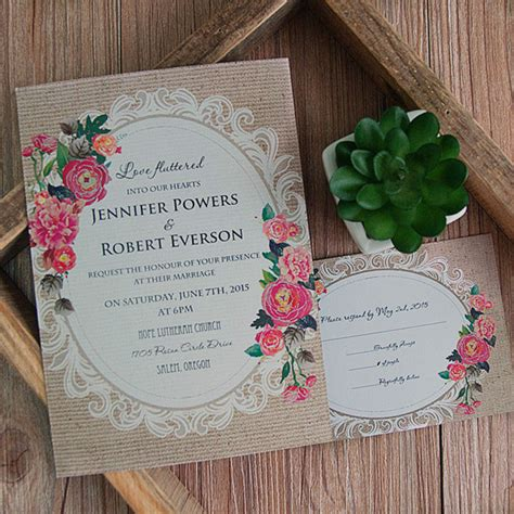 vintage wedding invitations with roses cheap vintage rustic roses wedding invitations ewi397 as low as 0 94