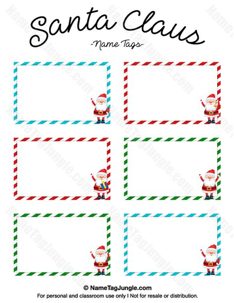 santa place cards templates printable santa claus name tags
