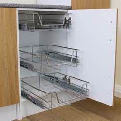 kitchen cabinet pull out storage 3 pull out kitchen wire baskets slide out storage cupboard drawer larder 60cm ebay