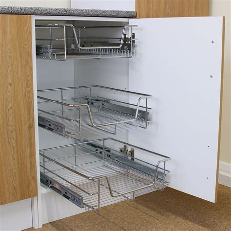 3 pull out kitchen wire baskets slide out storage cupboard