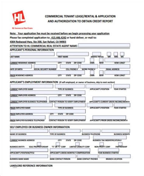 Credit Application Form Rental Sle Commercial Lease Application Forms 9 Free Documents In Pdf