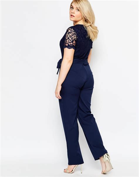 L Jumsuit club l plus size jumpsuit with scallop lace top in blue lyst