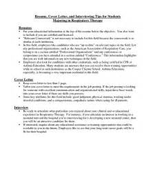 Respiratory Therapist Cover Letter by Respiratory Therapist Cover Letter Resume Cover Letter And Interviewing Tips For Students