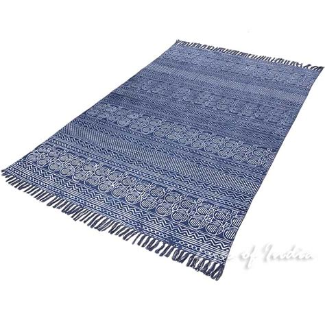 cotton accent rugs blue cotton block print accent area dhurrie rug flat weave