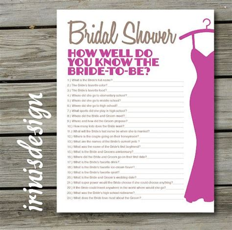 printable bridal shower trivia questions bridal shower game quiz how well do you know the bride