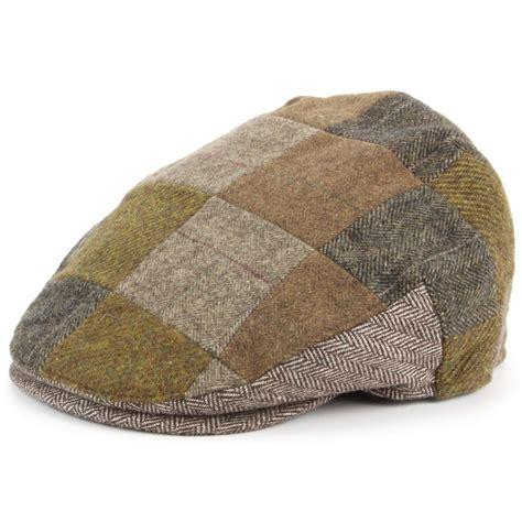 Patchwork Hat - flat cap hat patchwork hawkins cap brown blue peaked