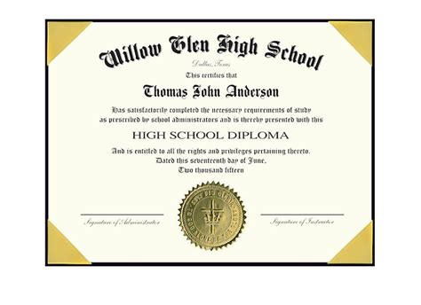 high school diploma template with seal image collections
