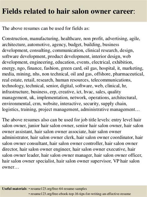 top 8 hair salon owner resume sles