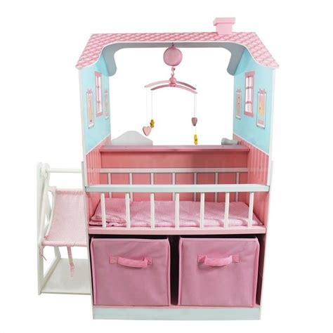 childs doll house teamson kids pink baby nursery doll house td 11460a