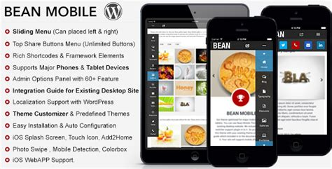 mobile themes themeforest bean premium mobile theme by webbu themeforest