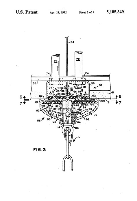 motorized light fixture lift patent us5105349 motorized chandelier lift system