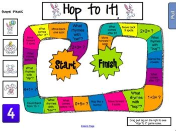 pattern games for kindergarten smartboard hop to it addition patterns word family activities