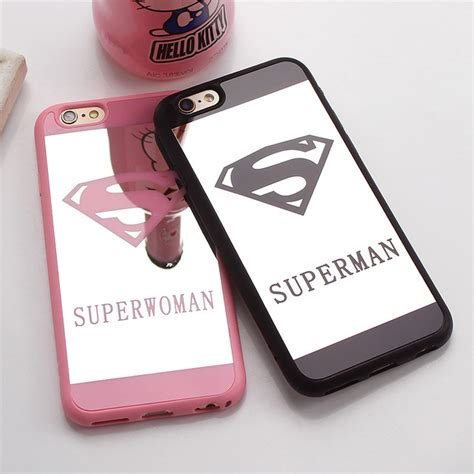 Termurah Superman Superwoman Mirror Soft For Iphone 6 6s aliexpress buy luxury superman mirror surface tpu for iphone 7 plus 5s se chrome back