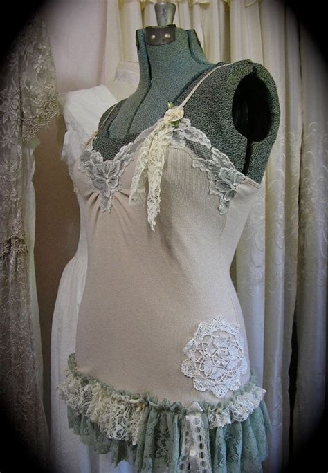 lacy camisole top upcycled altered clothes shabby and