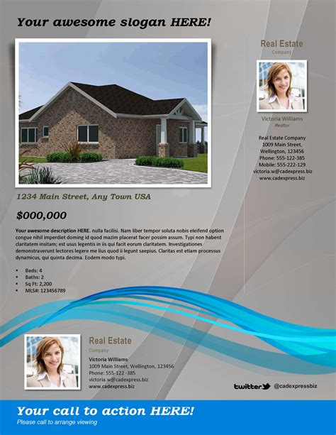 real estate flyer template gray