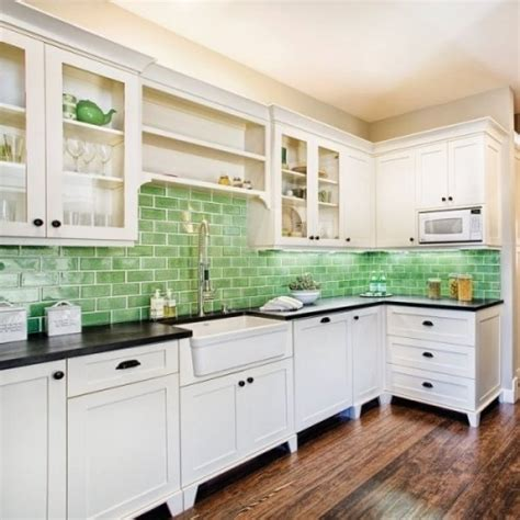 green tile backsplash kitchen green glass backsplash home