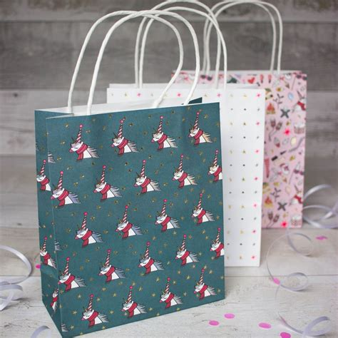 themed gift bags unicorn themed christmas gift paper bags pack of 3 bags