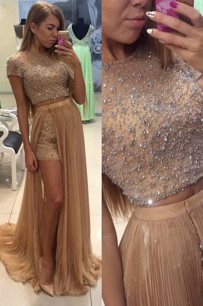 Stunning Two Pieces Prom Dresses 2016 Beadings Short Sleeve Split Party Gowns   Products
