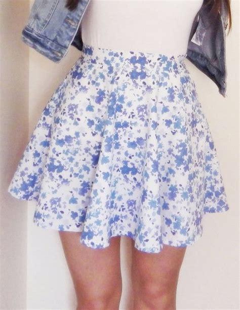 floral print skater skirt blue floral high pictures