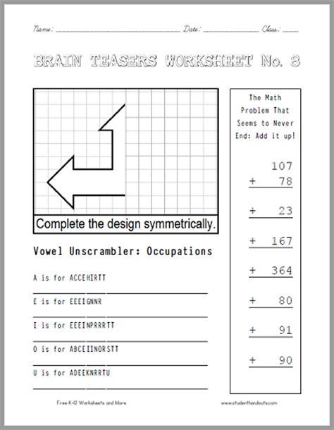 Brain Teaser Answers Worksheets by Brain Teasers Worksheet 8