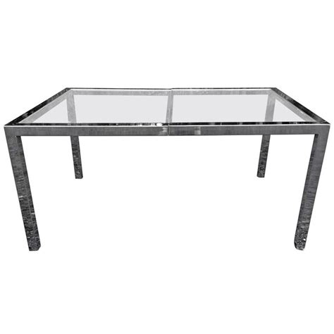 milo baughman chrome and glass dining table or desk at 1stdibs