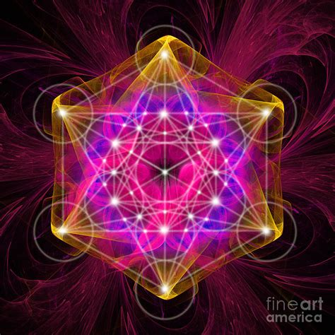 Metatron's Cube With Flower Of Life Digital Art by Alexa