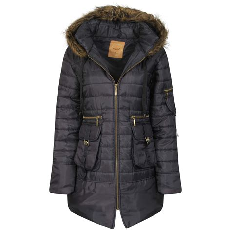 Parka Jaket Xl parka hooded padded jacket womens faux fur zip
