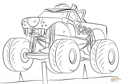 taz monster truck cartoon coloring page cartoon images