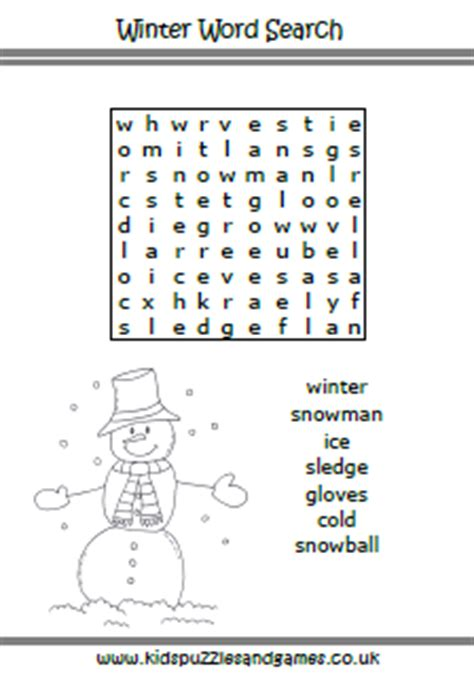 winter kids puzzles and games