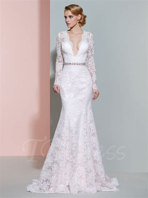 deep v neck long sleeves mermaid wedding dress