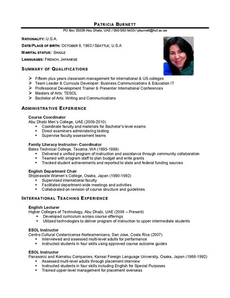 International Cv Template international business international business cv sle