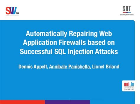 research papers on sql injection attacks automatically repairing web application firewalls based on