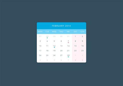 calendar design in css pure css3 calendar coding fribly