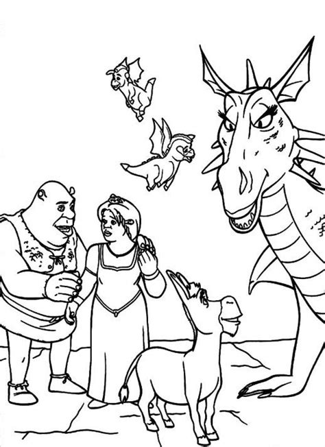 shrek donkey coloring page shrek fiona and donkey family coloring pages kids