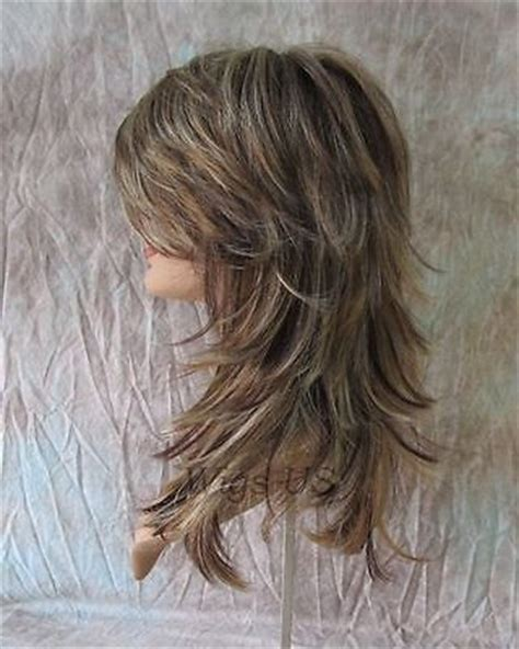 cut your own hair medium shag long wig choppy layers lots of motion auburn ginger and
